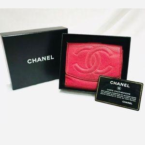 RARE Pink CHANEL Caviar Skin Bifold Wallet PK